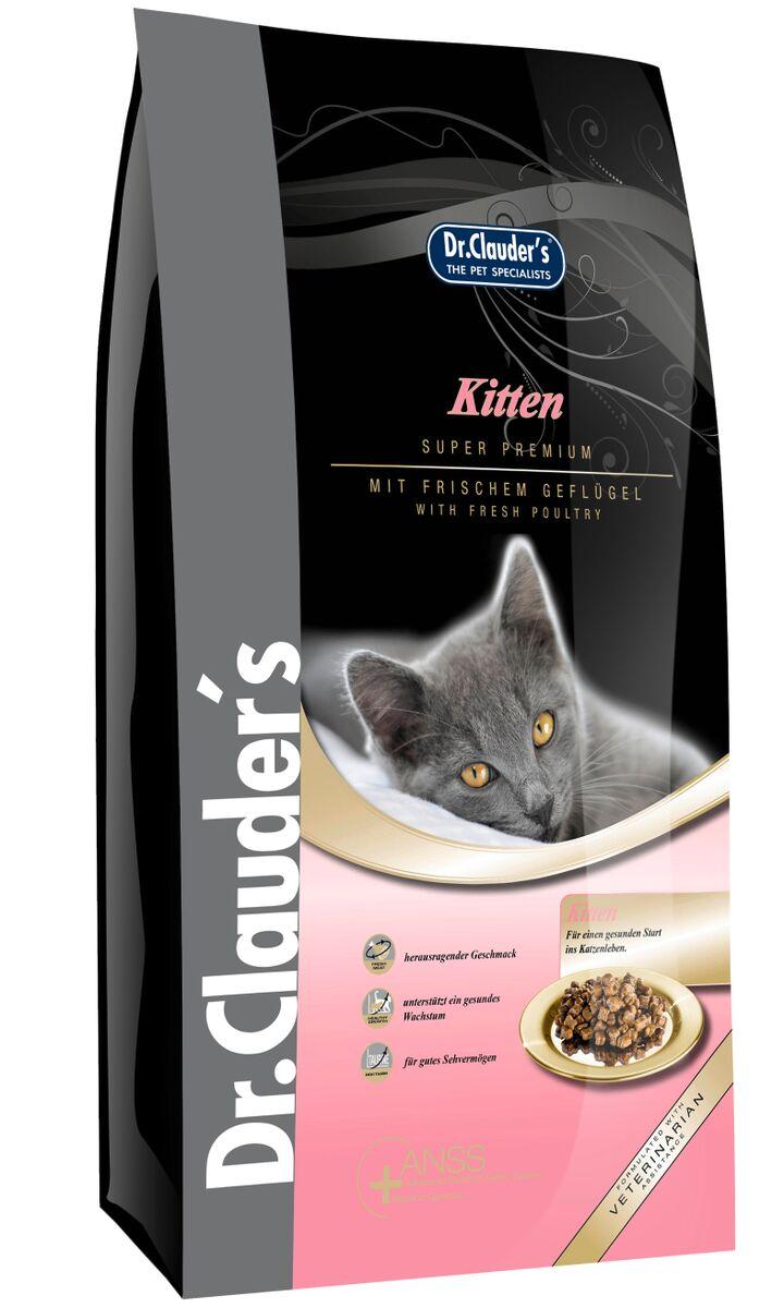 Корм сухой Dr. Clauders Kitten для котят, беременных и кормящих кошек, 0,4 кг200100Dr.Clauders Kitten изготавливается на основе свежего куриного мяса, что обязательно понравится вашему котенку. Состав: Куриное мясо (18%), рис, мука из мяса курицы (11%), животные жиры (говядина и курица), мясная мука (7,5%), картофельный белок, просо (желтое), топленое сало (дегидрированное), мука из печени, протеина гидролизат, рыбная мука, мякоть свеклы (сушеная), семя льна, пивные дрожжи (сухие), рыбий жир, калия хлорид, кальция карбонат, черника (сушеная), клюква (сушеная), порошок из мяса мидий (0,1%), порошок из цикория (0,05%), сушеные цветки ноготков, экстракт юкки (0,002%). Содержание питательных веществ: Сырой белок 33,5%, сырой жир 21,5%, сырая клетчатка 2%, сырая зола 6,5%, влажность 8%, кальций 1,25%, фосфор 1%, магний 0,08%. Добавки/кг: Пищевые добавки: Витамины: A 24950 МЕ, D3 1450 МЕ, E 500мг, С 400мг, таурин 1950мг. Микроэлементы: медь (меди сульфат пентагидрат) 10мг, цинк (оксид цинка) 30мг, цинк (aминокислотный хелатный цинк, гидрат) 40 мг, йодин ( кальция йодат, безводный) 2мг.