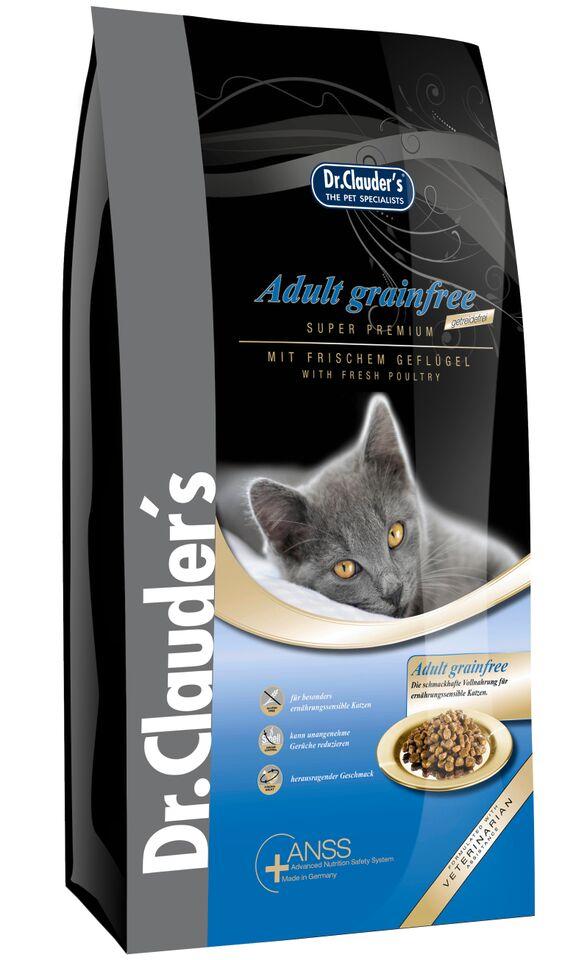 Корм сухой Dr. Clauders Adult Grainfree для взрослых кошек, беззерновой, 2 кг200103Dr.Clauders Adult Grainfree идеально подходит для взрослых кошек с чувствительным пищеварением в возрасте от 1 года до 8 лет и производится исключительно без зерновых. Состав: Куриное мясо (18%), картофельная мука, мука из мяса курицы (15%), картофельные хлопья, животные жиры (говядина и курица), топленое сало (дегидрированное), мука из печени, протеина гидролизат, мякоть свеклы (сушеная), яйцо сухое цельное, целлюлоза, семя льна, рыбий жир, пивные дрожжи (сухие), черника (сушеная), клюква (сушеная), порошок из мяса мидий (0,1%), порошок из цикория (0,05%), сушеные цветки ноготков, экстракт юкки (0,002%). Содержание питательных веществ: Сырой белок 32,5%, сырой жир 17%, сырая клетчатка 3,5%, сырая зола 6,8%, влажность 10%, кальций 1,25%, фосфор 1,15%, магний 0,09%. Добавки/кг: Пищевые добавки: Витамины: A 16500 МЕ, D3 1450 МЕ, E 145мг, таурин 2000 мг. Микроэлементы: медь (меди сульфат пентагидрат) 10мг, цинк (оксид цинка) 30мг, цинк (aминокислотный хелатный цинк, гидрат) 40 мг.