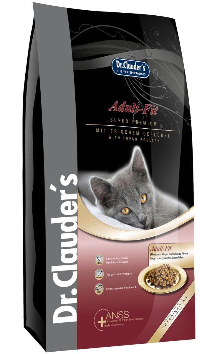 Корм сухой Dr. Clauders Adult Fit для взрослых кошек, 0,4 кг200104Dr.Clauders Adult Fit идеально подходит для взрослых кошек в возрасте от 1 года до 8 лет. Формула на основе куриного мяса с таурином полностью удовлетворит вкус даже самых привередливых кошек. Состав: Куриное мясо (18%), рис, мука из мяса курицы (8%), просо (желтое), просо сорго, животные жиры (говядина и курица), топленое сало (дегидрированное), мука из печени, рыбная мука, протеина гидролизат, целлюлоза, мясная мука (3%), мякоть свеклы (сушеная), семя льна, рыбий жир, пивные дрожжи (сухие), калия хлорид, кальция карбонат, черника (сушеная), клюква (сушеная), порошок из мяса мидий (0,1%), порошок из цикория (0,05%), сушеные цветки ноготков, экстракт юкки (0,002%). Содержание питательных веществ: Сырой белок 30%, сырой жир 15,5%, сырая клетчатка 4%, сырая зола 6,5%, влажность 8%, кальций 1,2%, фосфор 1%, магний 0,08% Добавки/кг: Пищевые добавки: Витамины: A 16950 МЕ, D3 1450 МЕ, E 145мг, таурин 1950мг. Микроэлементы: медь (меди сульфат пентагидрат) 10мг, цинк (оксид цинка) 30мг,