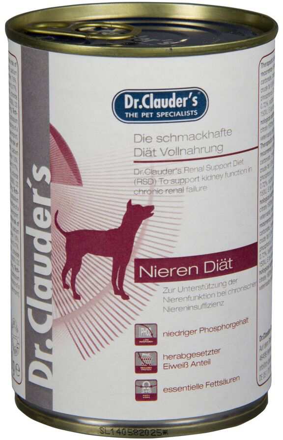 Корм консервированный Dr. Clauders Kidney Diet, для почек собак, 0,4 кг300505Терапевтическая полнорационная кормовая диета для собак. Dr. Clauders RSD была специально разработана для поддержания почечной функции при хронической почечной недостаточности. Основные питательные характеристики: низкий уровень фосфора, пониженное содержание белка при его высоком качестве. Ингредиенты: курица, говядина, рис, масло лосося, карбонат кальция. Состав: сырой белок 6,6%, сырой жир 12,9%, сырая зола 2%, сырая клетчатка 0,2%, влага 70%, кальций 0,21%, фосфор 0,17%, натрий 0,05%, калий 0,24%, магний 0,03%. Добавки/кг: витамин А 5500 МЕ, витамин D3 400 МЕ, витамин Е альфа-токоферол ацетат 300мг, медь (меди сульфат пентагидрат) 5 мг, йодин (кальция йодат безводный) 0,75мг, марганец (сульфат марганца моногидрат) 3 мг, селен (селенит натрия) 0,03мг, цинк (сульфат цинка моногидрат) 15 мг.