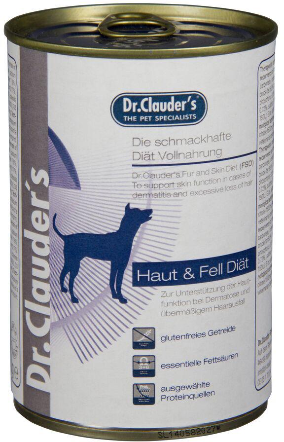 Корм консервированный Dr. Clauders FSD Skin & Сoat Вiet, для кожи и шерсти собак, 0,4 кг300507Терапевтическая полнорационная кормовая диета для собак. Диета Dr. Clauders FSD была специально разработана для поддержания функции кожи в случае дерматитов и чрезмерного выпадения шерсти. Основные питательные характеристики: высокое содержание незаменимых жирных кислот. Ингредиенты: курица, рис, масло огуречника, сафлоровое масло, льняное масло, карбонат кальция. Состав: сырой белок 10,2%, сырой жир 6,2%, сырая клетчатка 0,5%, сырая зола 2,5%, влага 75%, эйкозапентаеновая кислота 0,65%, докозагексаеновая кислота 0,65%, линолевая кислота 0,47%, альфа-линолевая кислота 0,08%. Добавки/кг: витамин D3 200 МЕ, витамин Е альфа-токоферол ацетат 30мг, цинк (сульфат цинка моногидрат) 15мг, марганец (льфат марганца моногидрат) 3мг, йодин (кальция йодат безводный) 0,75мг, селен (селенит натрия) 0,03мг, камедь кассии 2900мг.