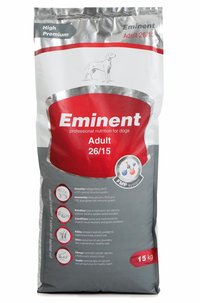 Корм сухой Eminent Суперпремиум. Adult для взрослых собак мелких и средних пород, 15 кг6800115Ингредиенты: мука из мяса курицы (27%), кукуруза, пшеница, куриный жир, рис, семена подсолнечника, гидролизованная куриная печень, семена льна, дрожжи, кокосовое масло, MOS (маннанолигосахариды), FOS (фруктоолигосахариды), бета-глюканы, витамины, минеральные вещества, L-лизин, DL-метионин, пробиотики, холин хлорид, лизин, метионин, L-карнитин, биотин, пробиотическая культура. Состав: протеин 26%, жир 15%