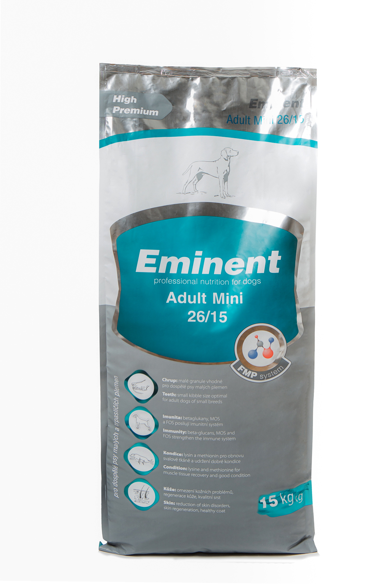 Корм сухой Eminent Суперпремиум. Adult Mini для взрослых собак мелких и карликовых пород, 15 кг6800120Ингредиенты: мука из мяса курицы (27%), кукуруза, пшеница, куриный жир, рис, семена подсолнечника, гидролизованная куриная печень, семена льна, дрожжи, кокосовое масло, MOS (маннанолигосахариды), FOS (фруктоолигосахариды), бета-глюканы, витамины, минеральные вещества, L-лизин, DL-метионин, пробиотики, холин хлорид, лизин, метионин, L-карнитин, биотин, пробиотическая культура. Состав: протеин 26%, жир 15%