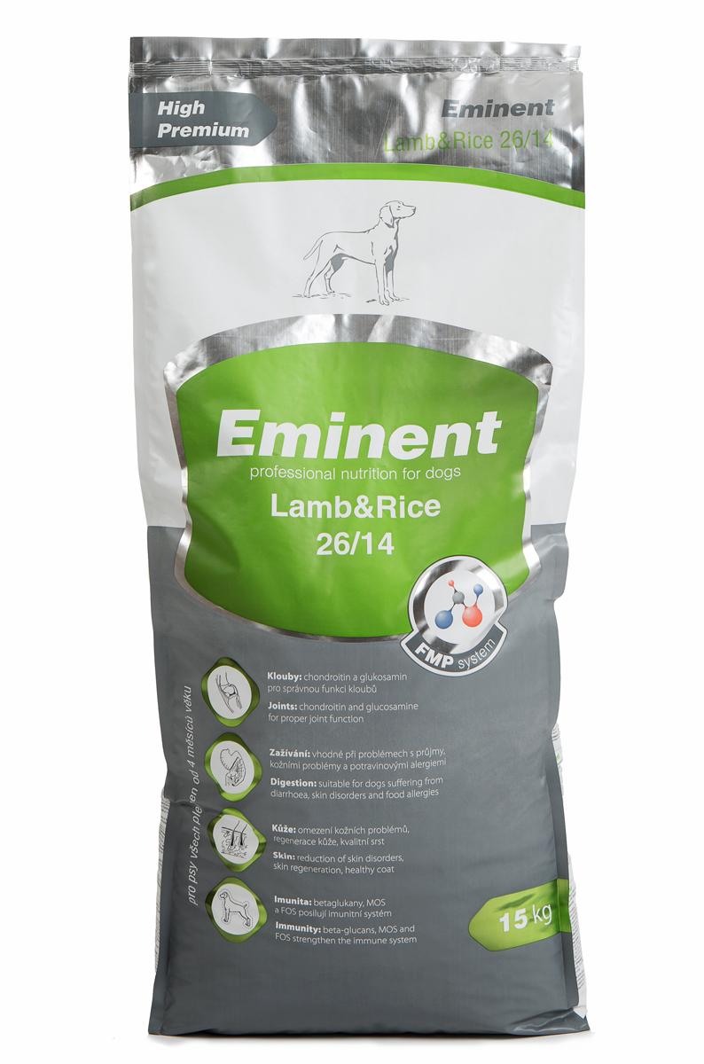 Корм сухой Eminent Суперпремиум. Lamb & Rice для собак всех пород от 4 месяцев, ягненок и рис, 15 кг6800145Ингредиенты: рис, мука из мяса ягненка (19,5%), кукуруза, рыбная мука, семена подсолнечника, ростки кукурузы, куриный жир, гидролизованное куриная печень, семена льна, дрожжи, растительная клетчатка, кокосовое масло, витамины, минеральные вещества, L-лизин, DL-метионин, MOS (маннанолигосахариды), FOS (фруктоолигосахариды), бета-глюканы, лизин, метионин, холин хлорид, L-карнитин, глюкозамин, хондроитин сульфат, биотин, Юкка, пробиотическая культура. Состав: протеин 26%, жир