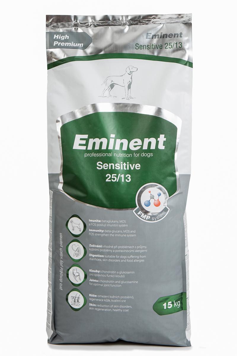 Корм сухой Eminent Суперпремиум. Sensitive для взрослых собак всех пород, гипоаллергенный, 15 кг6800150Ингредиенты: мука из мяса курицы (25%), кукуруза, рис, семена подсолнечника, куриный жир, гидролизованное куриное мясо, гидролизованное куриная печень, семена льна, кокосовое масло, семена расторопши, витамины, минеральные вещества, L-лизин, DL-метионин, MOS (маннанолигосахариды), FOS (фруктоолигосахариды), бета-глюканы, лизин, метионин, таурин, L-карнитин, глюкозамин, хондроитин сульфат, юкка, пробиотическая культура. Состав: протеин 25%, жир 13%
