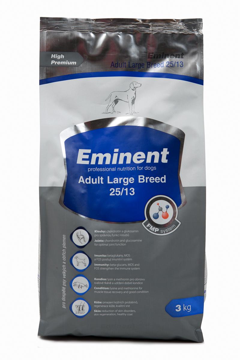 Корм сухой Eminent Суперпремиум. Adult Large Breed для взрослых собак крупных пород, 3 кг6800200Ингредиенты: мука из мяса курицы (26%), кукуруза, пшеница, куриный жир, рис, семена подсолнечника, гидролизованная куриная печень, семена льна, кокосовое масло, MOS (маннанолигосахариды), FOS (фруктоолигосахариды), бета-глюканы, витамины, минеральные вещества, L-лизин, DL-метионин, пробиотики, лизин, метионин, холин хлорид, L-карнитин, глюкозамин, хондроитин сульфат, биотин, пробиотическая культура. Состав: протеин 25%, жир 13%