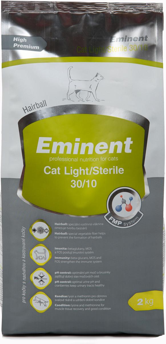 Корм сухой Eminent Суперпремиум. Cat Light. Sterile для взрослых кошек с избыточным весом, с курицей, 2 кг6800635Ингредиенты: мука из мяса курицы (28%), кукуруза, рис, рыбная мука, ростки пшеницы, пшеница, куриный жир, семена подсолнечника, гидролизованная куриная печень, растительная клетчатка, семена льна, таурин, MOS (маннанолигосахариды), FOS (фруктоолигосахариды), бета-глюканы, витамины, минеральные вещества, DL-метионин, лизин, метионин, холин хлорид, Юкка, брусника, пробиотическая культура. Состав: протеин 30%, жир 10%
