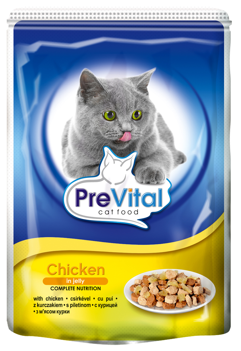 Корм консервированный Prevital Classic для кошек, с курицей в желе, 100 г700060Состав: мясо и мясные продукты (4% курицы), злаки, экстракты белков растительного происхождения, минеральные вещества, сахар. Содержание питательных веществ: белок 7%, жир 4,5%, зола 2,5%, клетчатка 0,3%, влага 82%. Пищевые добавки/кг: вит. А - 1100 МЕ, вит. D3 - 140 МЕ, вит. Е - 15 мг, цинк (сульфат цинка, моногидрат) - 10 мг, марганец (оксид марганца) - 2,5 мг, таурин - 450 мг, камедь кассии.Без искусственных красителей и консервантов.