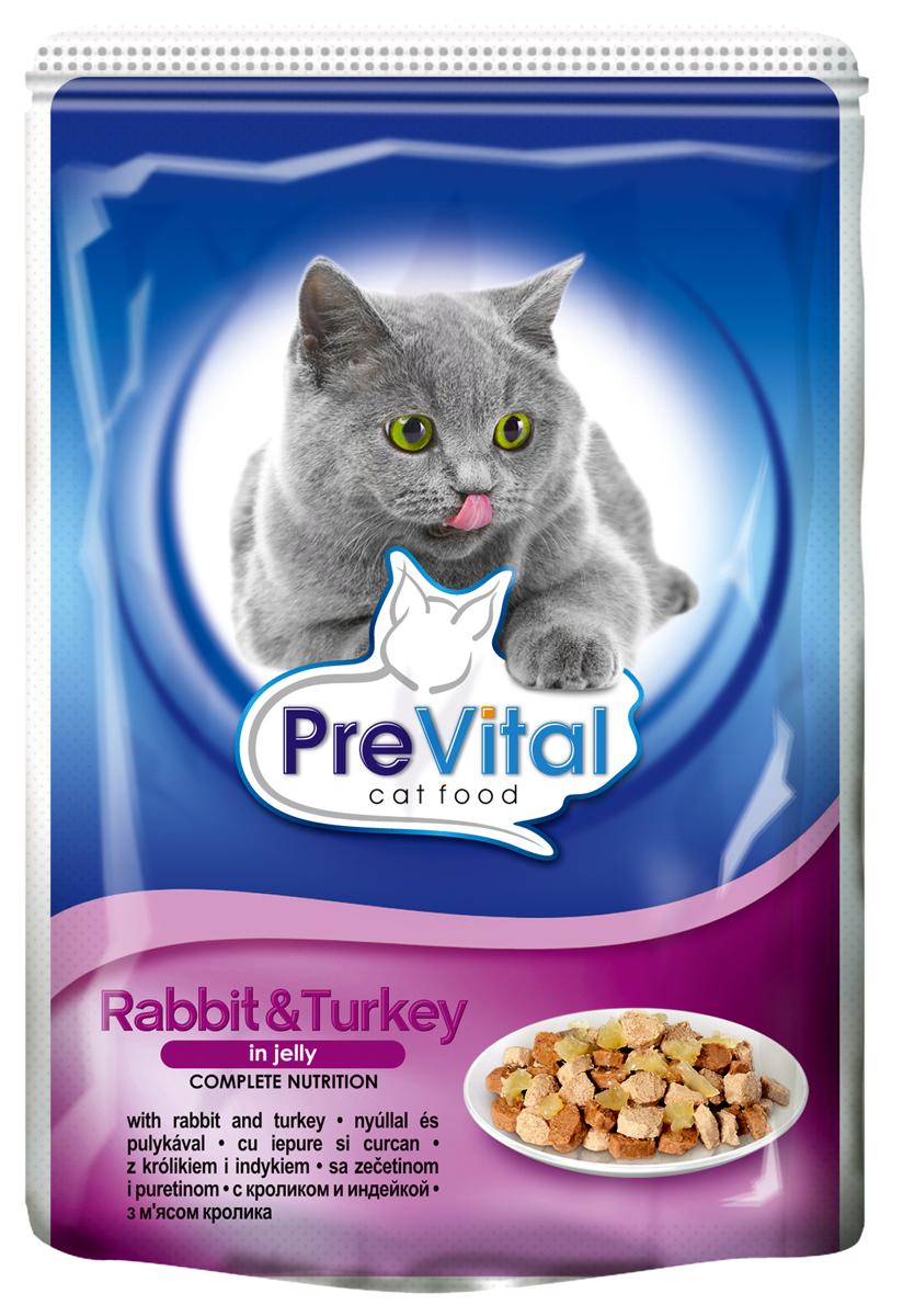 Корм консервированный Prevital Classic для кошек, с кроликом и индейкой в желе, 100 г700070Состав: мясо и мясные продукты (4% кролика, 4% индейки), злаки, экстракты белков растительного происхождения, минеральные вещества, сахар. Содержание питательных веществ: белок 7%, жир 4,5%, зола 2,5%, клетчатка 0,3%, влага 82%. Пищевые добавки/кг: вит. А - 1100 МЕ, вит. D3 - 140 МЕ, вит. Е - 15 мг, цинк (сульфат цинка, моногидрат) - 10 мг, марганец (оксид марганца) - 2,5 мг, таурин - 450 мг, камедь кассии.Без искусственных красителей и консервантов.