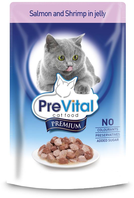 Корм консервированный Prevital Premium для кошек, с лососем и креветками в желе, 100 г700091Состав: мясо и мясные продукты, рыба и рыбные продукты (4% лосося), моллюски и ракообразные (4% креветок), производные растительного происхождения (0,4% инулина), минеральные вещества. Содержание питательных веществ: белок 8,5%, жир 5%, зола 2,5%, клетчатка 0,4%, влага 82%. Пищевые добавки/кг: вит. D3 - 250 МЕ, вит. Е - 100 мг, цинк (сульфат цинка, моногидрат) - 10 мг, марганец (оксид марганца) - 2 мг, медь (сульфат меди, пентагидрат) - 0,2 мг, йодин (калия йодид) - 0,7 мг, таурин - 450 мг, биотин - 100 мкг, камедь кассии. Без сахара, искусственных красителей и консервантов.