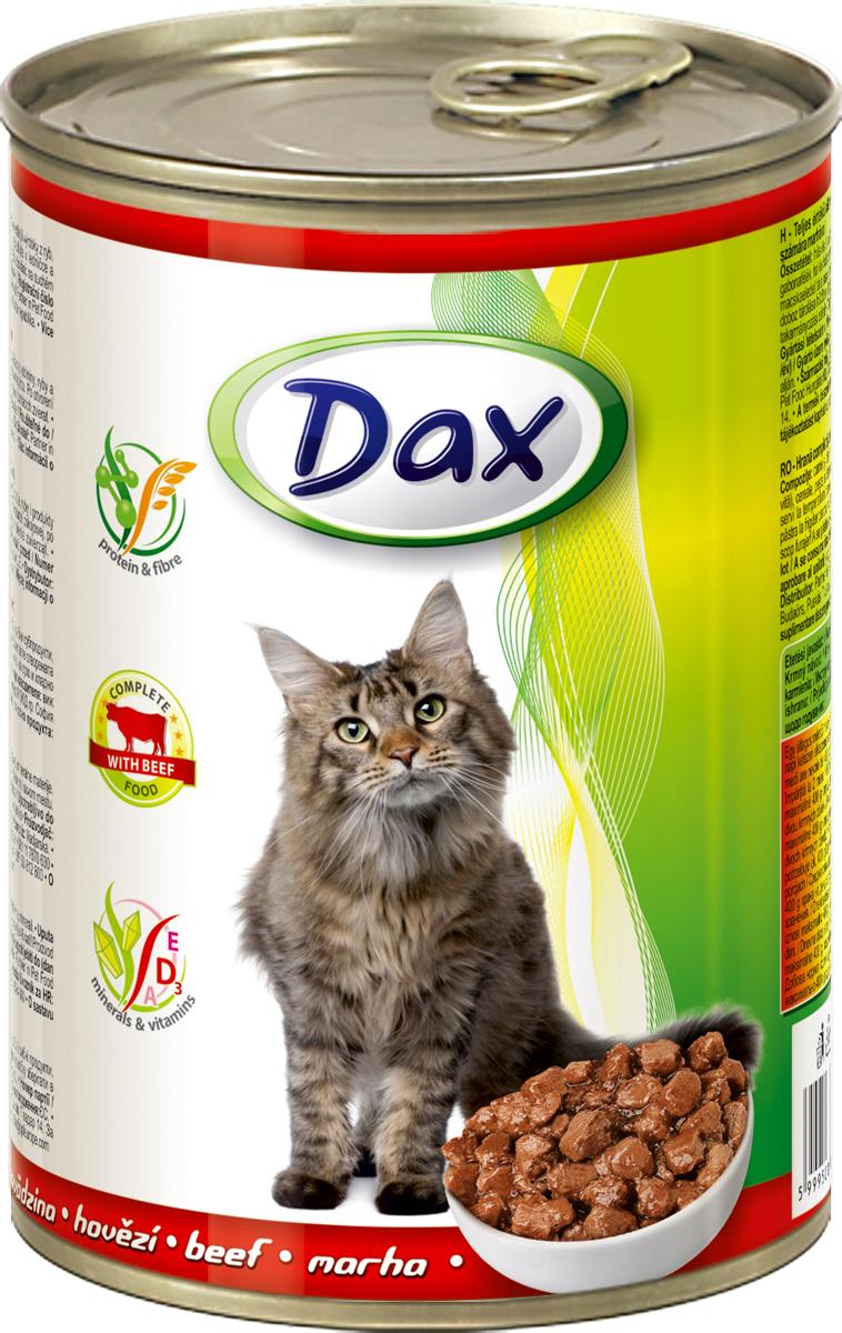 Корм консервированный Dax для кошек, с говядиной, 415 г700550Состав: мясо и мясные продукты (4% говядины), злаки, рыба и рыбные продукты, минеральные вещества. Содержание основных питательных веществ: белок 7%, жир 3%, зола 3%, клетчатка 0,5%, влага 81%. Пищевые добавки/кг: вит. А - 1100 МЕ, вит. D3 - 140 МЕ, вит. Е - 15 мг, цинк (сульфат цинка, моногидрат) - 10 мг, марганец (оксид марганца) - 2,5 мг. Без искусственных красителей и консервантов.