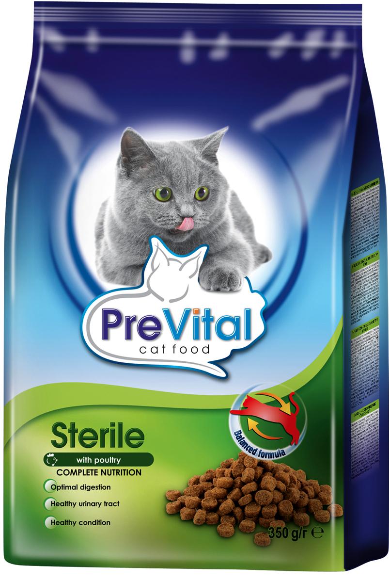 Корм сухой Prevital для стерилизованных кошек, с птицей, 350 г7100001Состав: злаки, мясо и мясные продукты (4% птицы), производные растительного происхождения (2,5% свекловичной пульпы), овощи, масла и жиры, минеральные вещества, экстракты белков растительного происхождения. Содержание питательных веществ: белок 28%, жир 8,5%, зола 9%, клетчатка 3%, влажность 8%, кальций 1.6%, фосфор 1.1%. Пищевые добавки/кг: витамин А 12000 МЕ, витамин D3 1200 МЕ, витамин E 110 мг, медь (пентагидрат сульфата меди) 15 мг, железо (моногидрат сульфата железа) 113мг, йод (йодат кальция, безводный ) 3 мг, марганец (оксид марганца) 18 мг, цинк (моногидрат сульфата цинка) 128 мг, селен (селенит натрия) 0,23 мг, таурин 1000 мг.