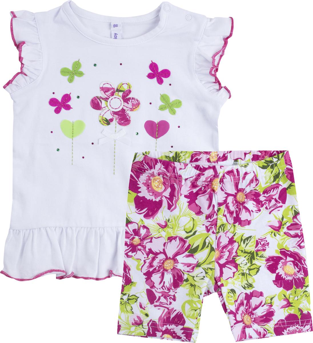 Комплект для девочки PlayToday: майка, шорты, цвет: белый, розовый, светло-зеленый. 188069. Размер 80188069