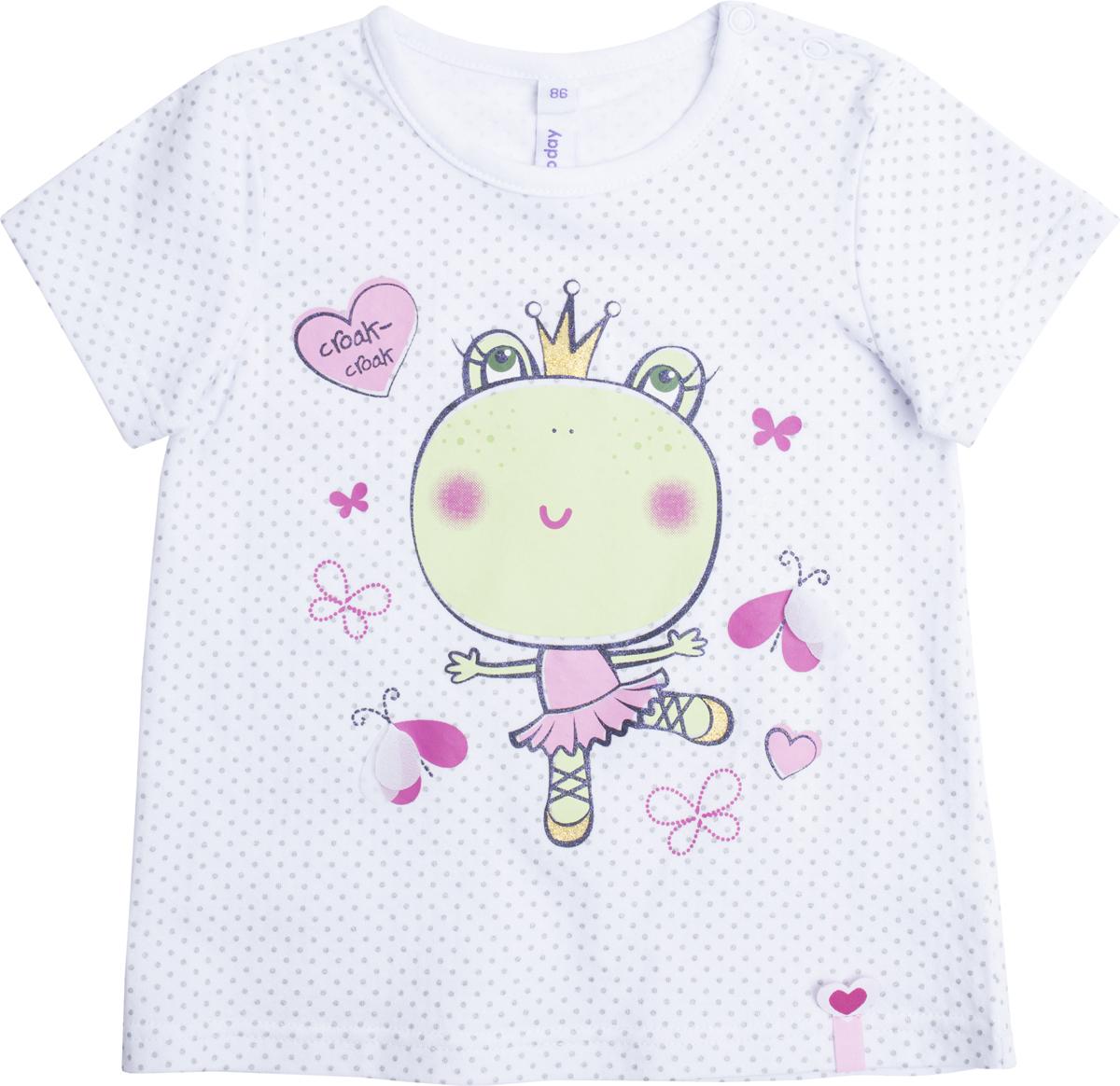 Комплект для девочки PlayToday: футболка, брюки, цвет: белый, светло-зеленый. 188068. Размер 92188068