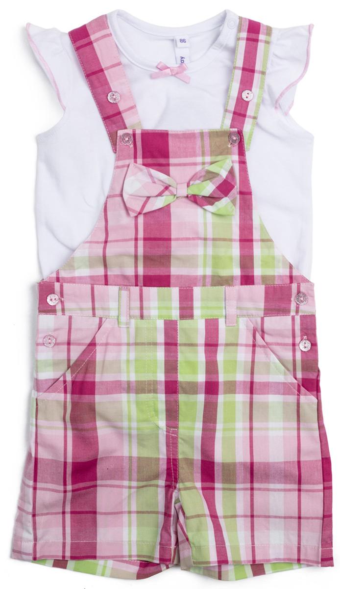 Комплект для девочки PlayToday: футболка, полукомбинезон, цвет: белый, розовый, светло-зеленый. 188071. Размер 86