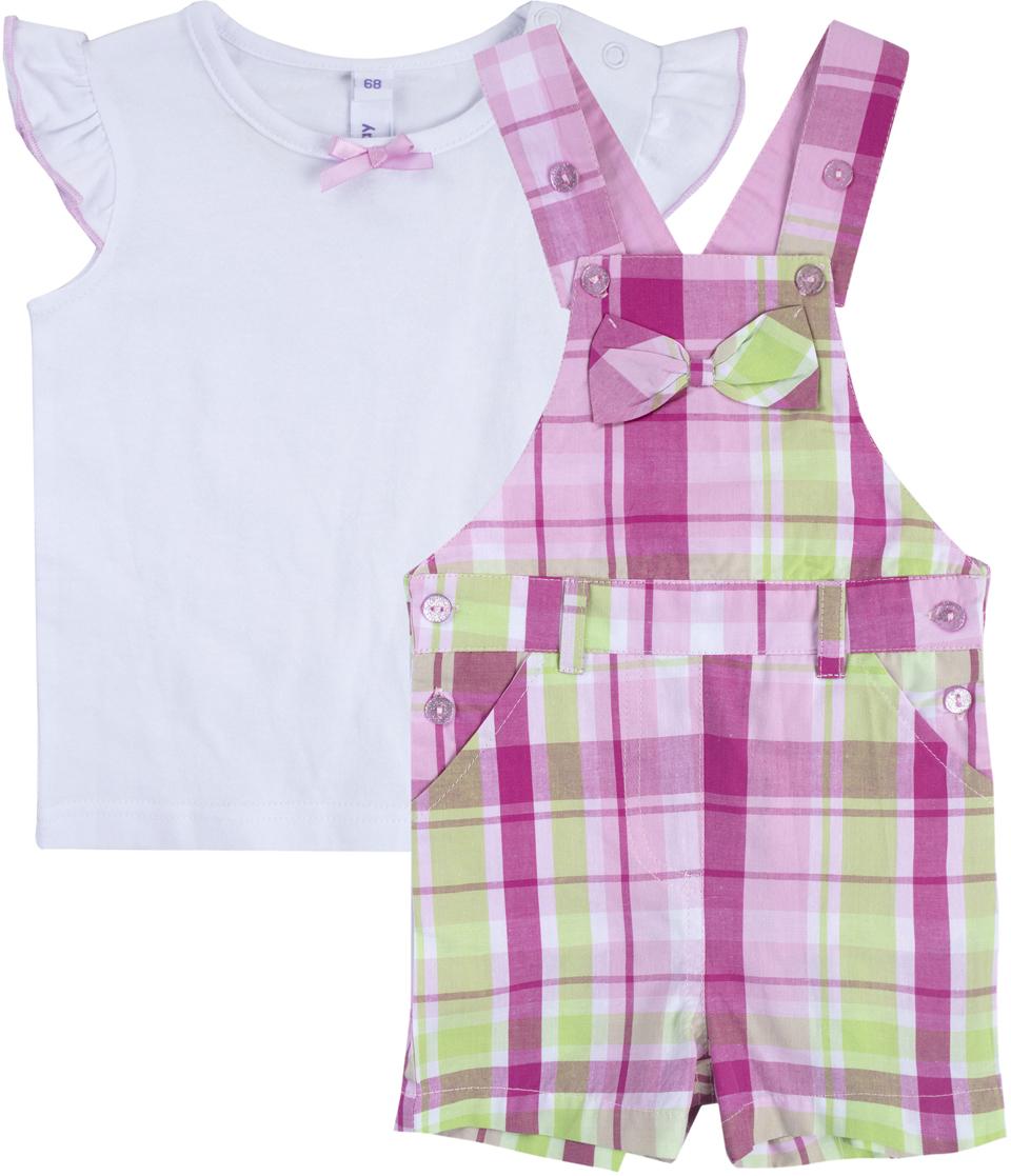 Комплект для девочки PlayToday: футболка, полукомбинезон, цвет: белый, розовый, светло-зеленый. 188868. Размер 74188868