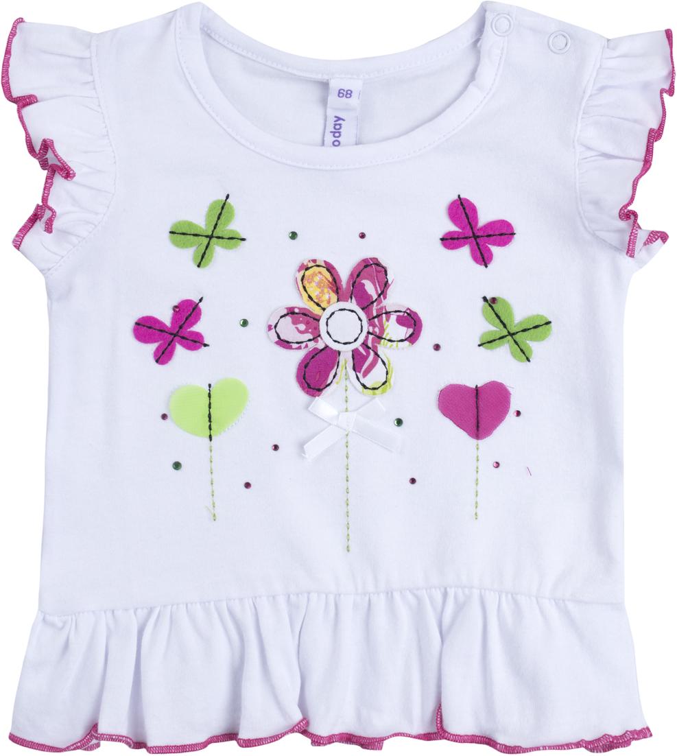 Комплект для девочки PlayToday: футболка, шорты, цвет: белый, розовый, зеленый. 188866. Размер 62188866