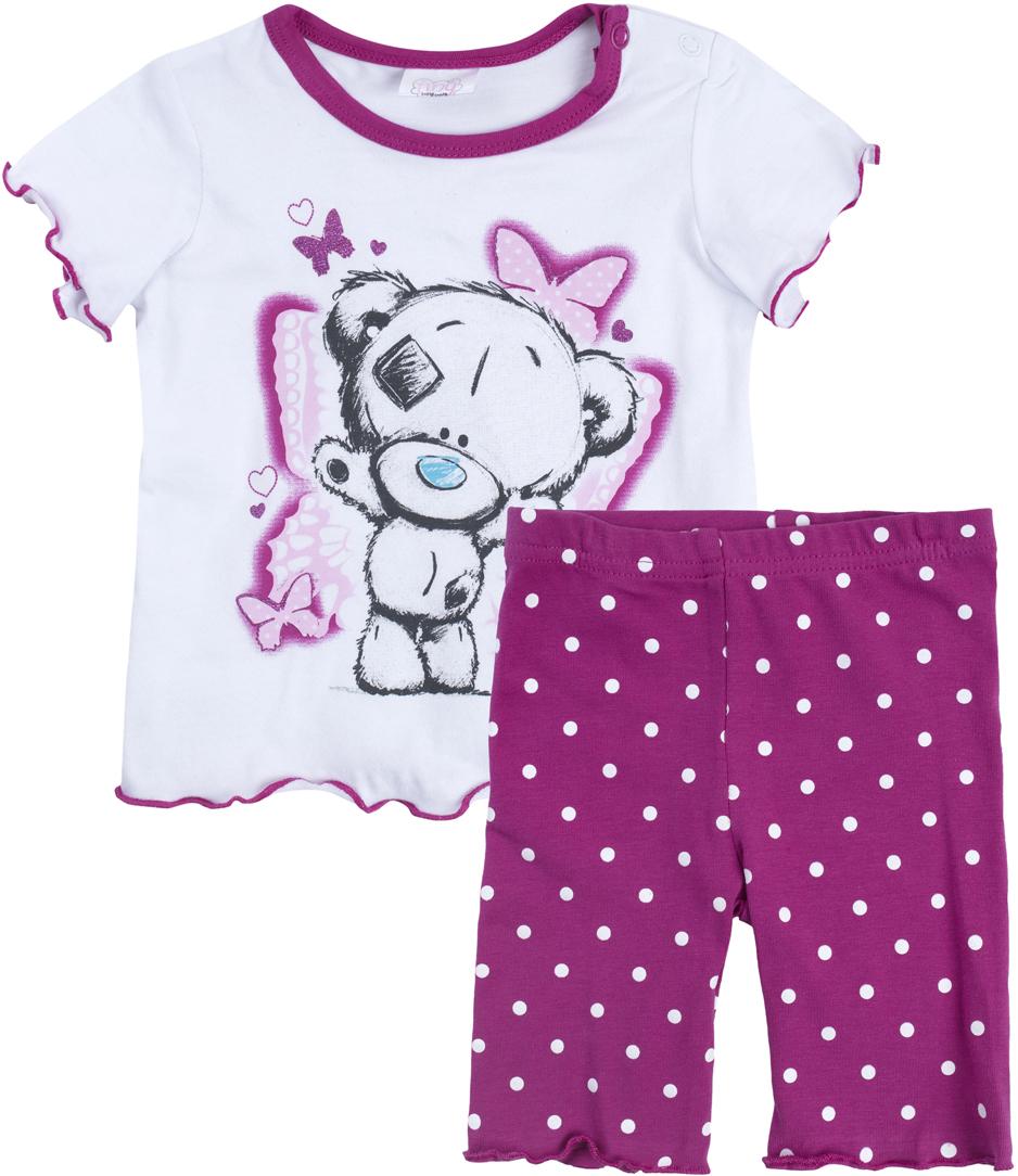 Комплект для девочки PlayToday: футболка, шорты, цвет: белый, розовый, серый. 688852. Размер 62688852