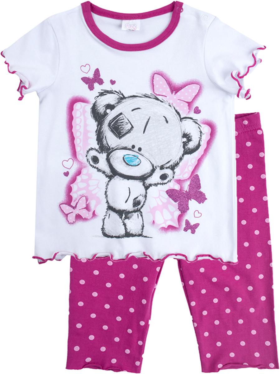 Комплект для девочки PlayToday: футболка, шорты, цвет: белый, розовый. 688052. Размер 98688052