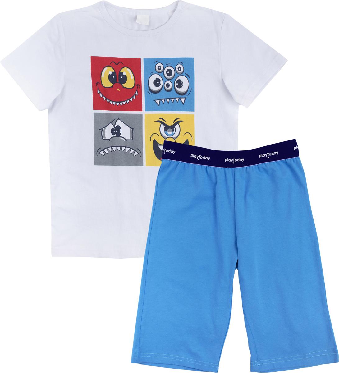 Комплект для мальчика PlayToday Home: футболка, шорты, цвет: голубой, белый, желтый. 185002. Размер 128185002Комплект из натурального трикотажа. Пояс шорт на широкой резинке, не сдавливающей живот ребенка. Горловина футболки оформлена мягкой трикотажной резинкой. В качестве декора использован крупный водный принт.