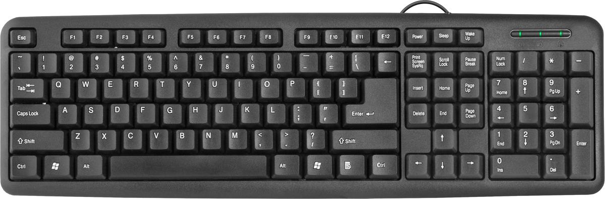 Defender HB-420 RU, Black клавиатура проводная45420Проводная клавиатура Defender #1 HB-420 RU,черный,полноразмерная