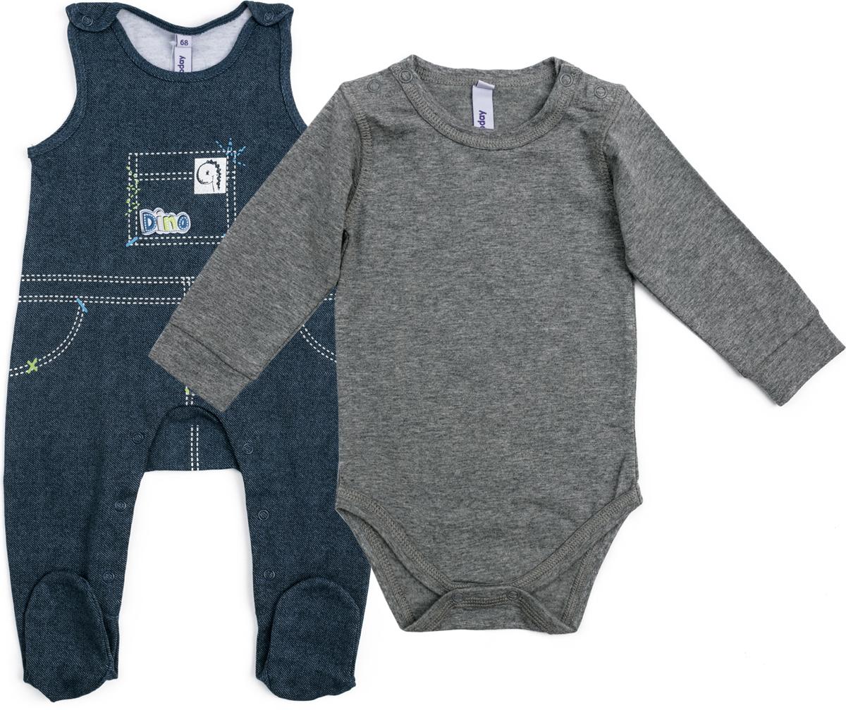 Комплект для мальчика PlayToday: боди, полукомбинезон, цвет: светло-серый, темно-синий. 187823. Размер 74