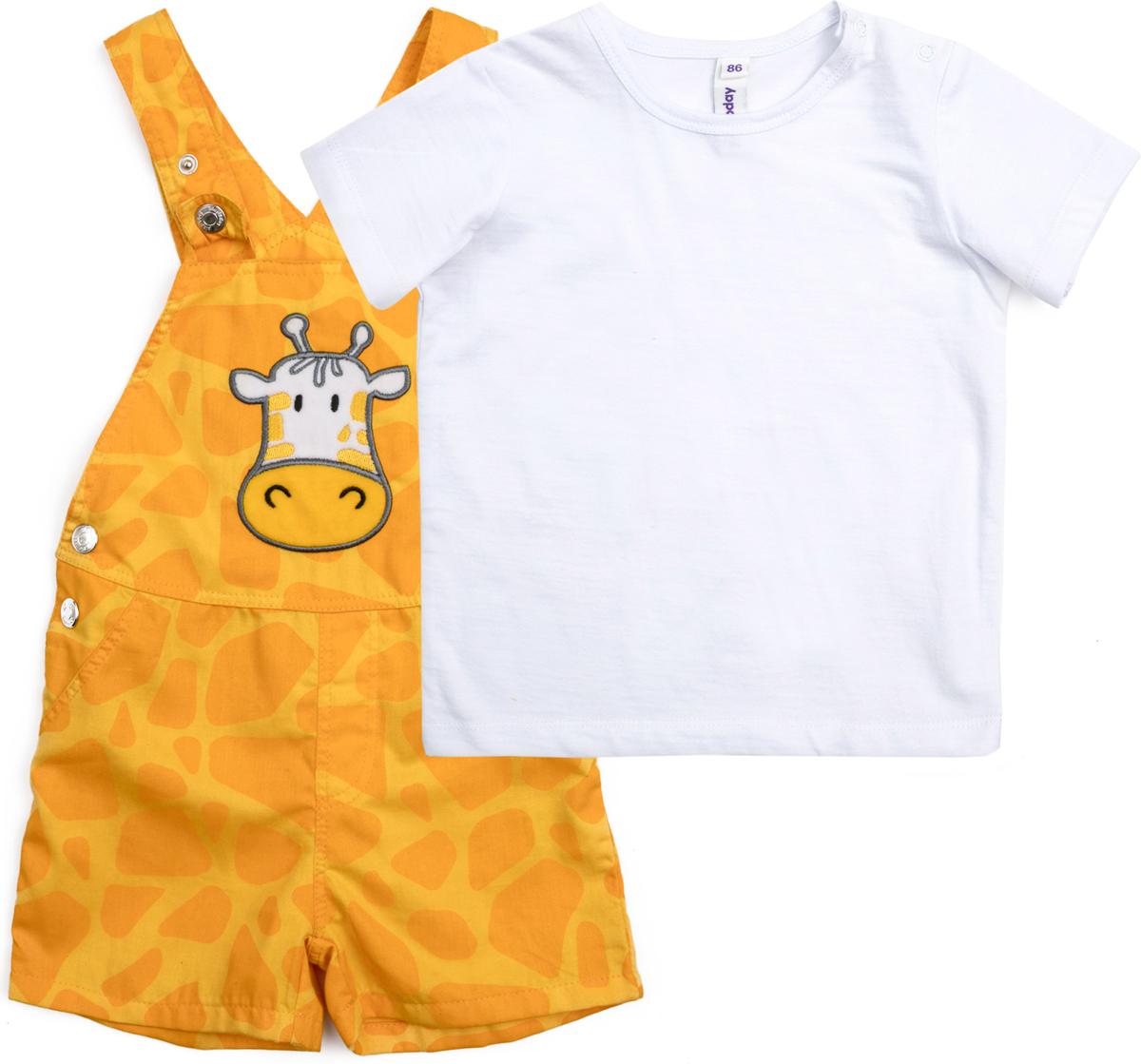 Комплект для мальчика PlayToday: футболка, полукомбинезон, цвет: белый, желтый. 187055. Размер 86