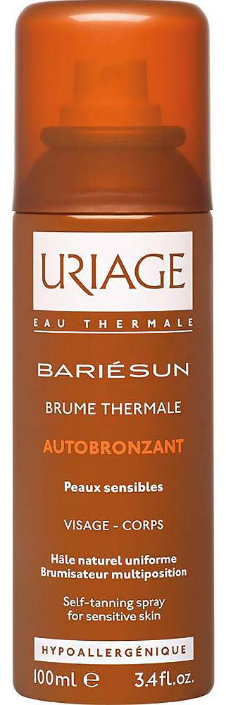 Uriage Автобронзант-спрей термальный Барьесан, 100 млU01499Термальный спрей-автобронзат для чувствительной кожи создаёт эффект естественного загара круглый год. Устойчивый, равномерный, естественный цвет загара. Увлажняющий уход для лица и тела. Тщательно мойте руки после каждого применения. Чтобы получить более интенсивный оттенок , применение можно продолжать вплоть до получения желаемого оттенка. Спрей не содержит солнечных фильтров и не защищает от солнца. Поэтому во время пребывания на солнце рекомендуем применять солнцезащитные средства Урьяж..