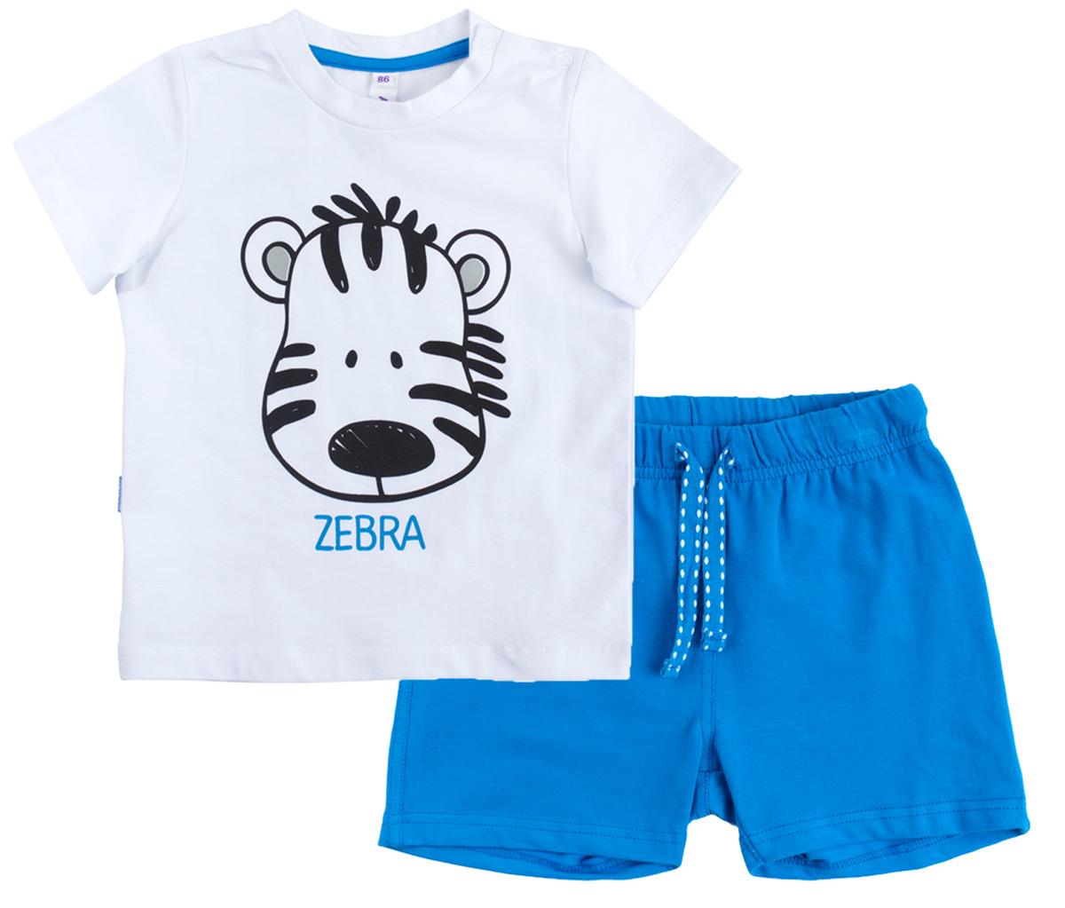 Комплект для мальчика PlayToday: футболка, шорты, цвет: белый, синий. 187063. Размер 98187063