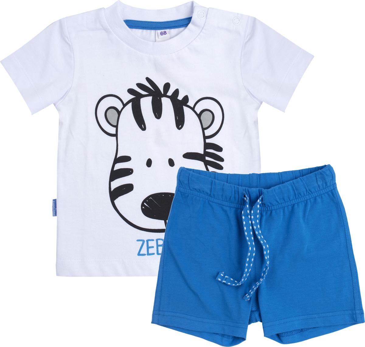 Комплект для мальчика PlayToday: футболка, шорты, цвет: белый, синий. 187861. Размер 74187861