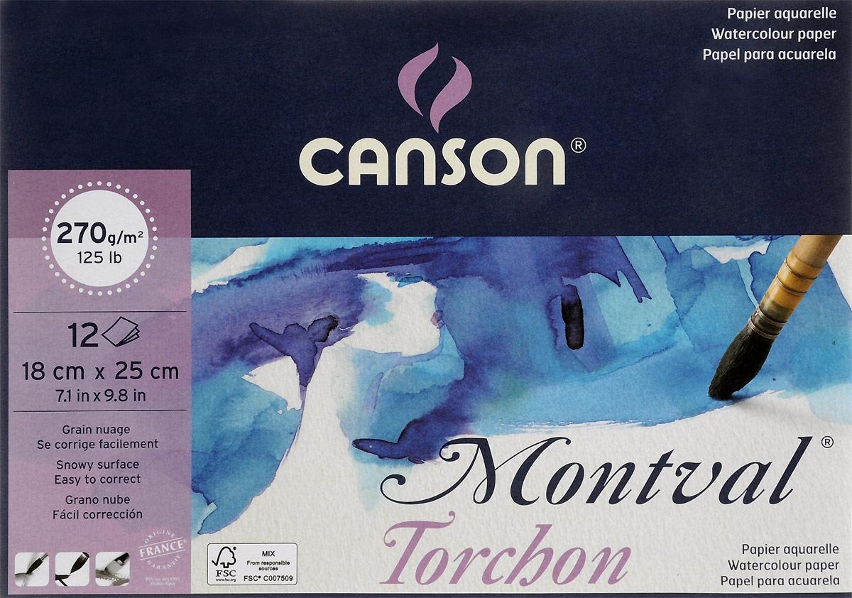 Canson Альбом для акварели Montval 18 х 25 см 12 листов200807323Бумага в альбоме сделана из 100 % высококачественной целлюлозы, она беcкислотная, очень долговечная и неиспорченная отбеливателями.Альбом для акварели Montval 270г/м.кв 18*25см 12л Снежное зерно склейка по короткой стороне