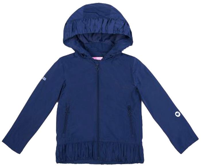 Куртка для девочки PlayToday, цвет: темно-синий. 182055. Размер 104182055Куртка выполнена из водоотталкивающей ткани. Модель на молни. Специальный карман для фиксации бегунка не позволит застежке травмировать нежную детскую кожу. Куртка дополнена встрочным капюшоном на регулируемом шнуре - кулиске. Светоотражатель обеспечит видимость ребенка в темное время суток.