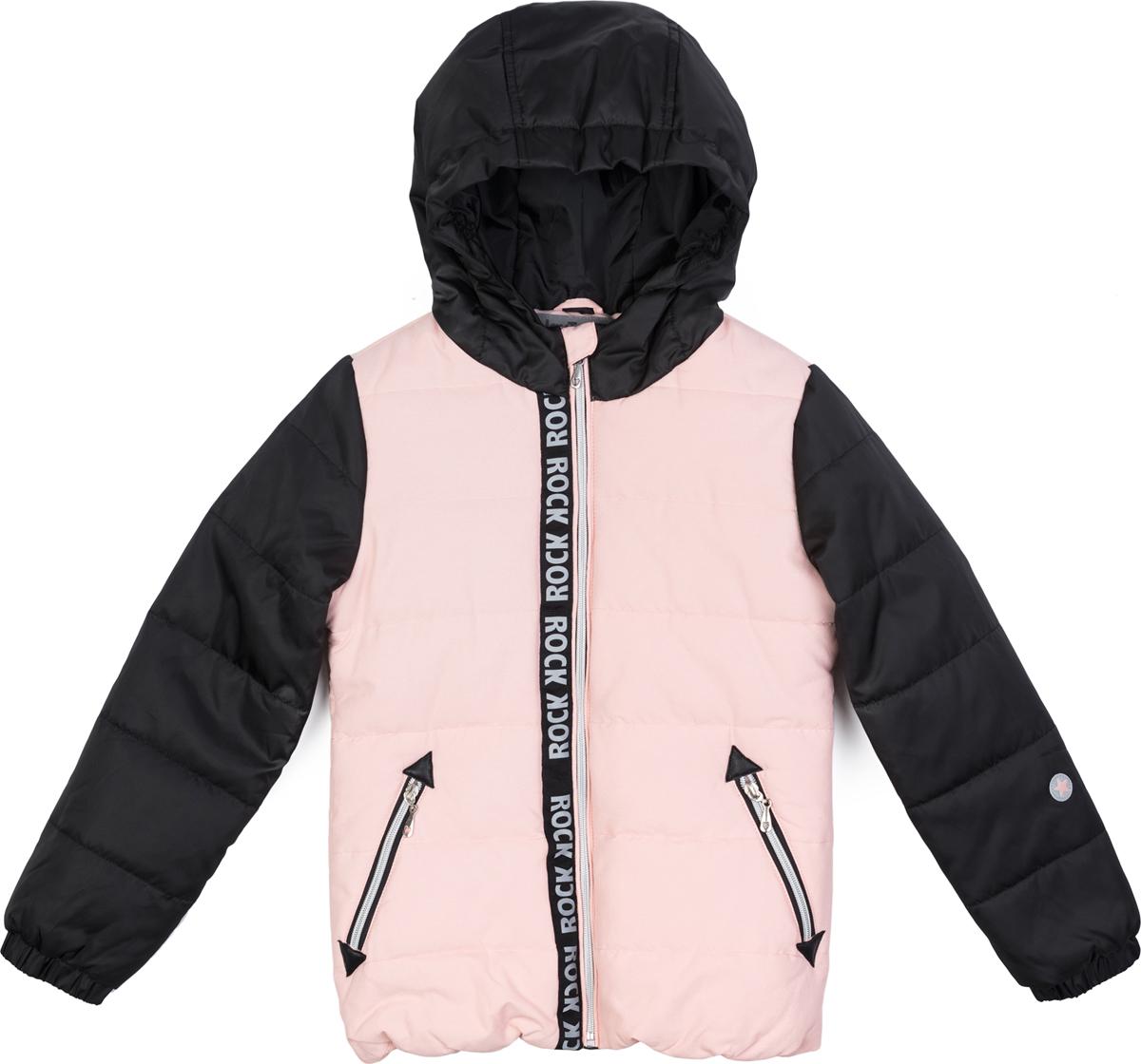 Куртка для девочки PlayToday, цвет: черный, розовый. 182002. Размер 146/152182002Утепленная стеганаякуртка выполнена из водонепроницаемой ткани. Встрочной капюшон по контуру дополнен резинкой. Модель на молнии. Специальный карман для фиксации бегунка не позволит застежке травмировать нежную детскую кожу. Встрочные карманы на молнии. Низ куртки на резинке для дополнительного сохранения тепла. Светоотражатели обеспечать видимость ребенка в темное время суток.