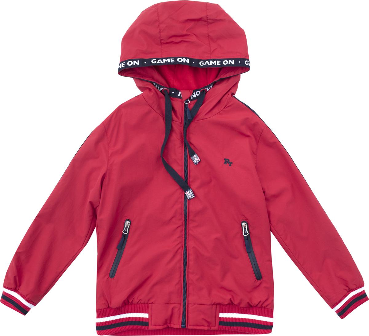 Куртка для мальчика PlayToday, цвет: красный, темно-синий. 181002. Размер 128181002Куртка выполнена из водонепроиницаемой ткани, на молнии. Встрочной капюшон на кулиске. Манжеты и низ изделия на мягких трикотажных резинках для дополнительного сохранения тепла. Куртка дополнена встрочными карманами на молнии. Подкладка из ткани с высоким содержанием натурального хлопка.