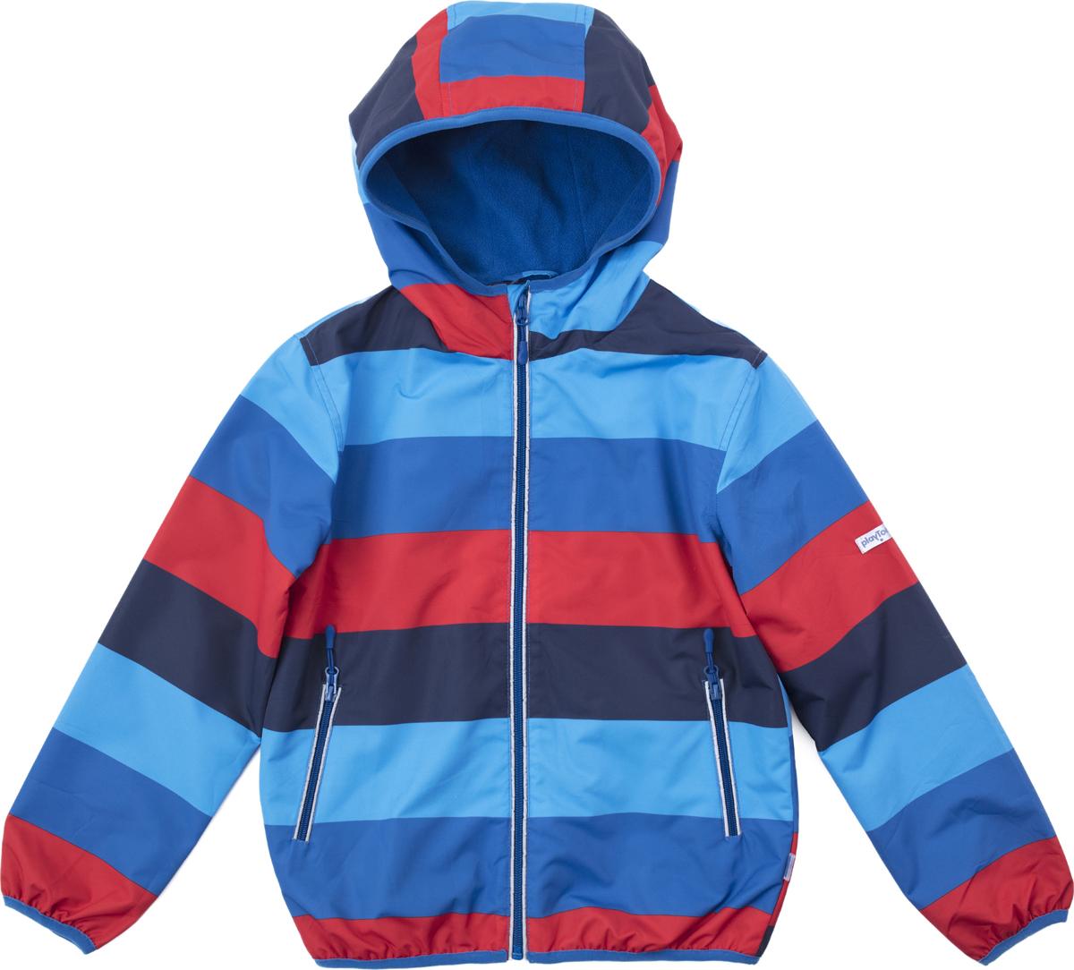 Куртка для мальчика PlayToday, цвет: синий, голубой. 181003. Размер 146/152181003Куртка выполнена из водонепроиницаемой ткани. Встрочной капюшон по контуру дополнен мягкой резинкой. Модель на молнии. Специальный карман для фиксации бегунка не позволит застежке травмировать нежную детскую кожу. Подкладка из флиса. Встрочные карманы на молнии. Окантовка манжет и низа изделия на мягкой резинке. Светоотражатель обеспечит безопасность ребенка в темное время суток.