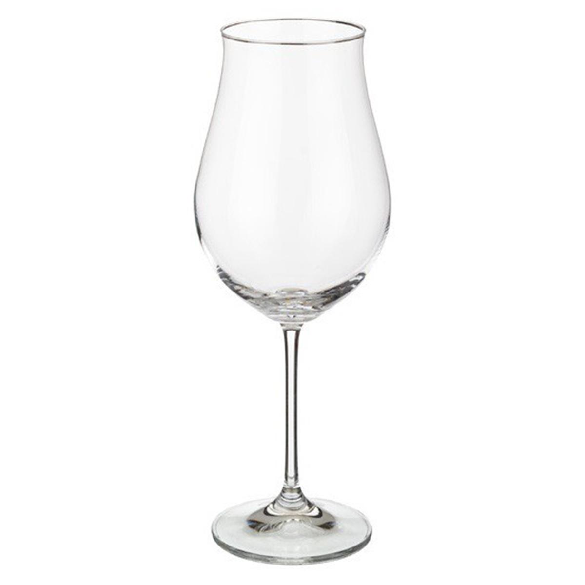 """Набор бокалов для вина """"Attimo"""" изготовлен из чешского бесцветного стекла на тонкой длинной ножке, без декора, чаша бокала имеет тонкие изгибы. Бокалы """"Attimo"""" сделают ваш праздник ярче. Количество в упаковке 6 шт. Объем  бокала 500 мл."""