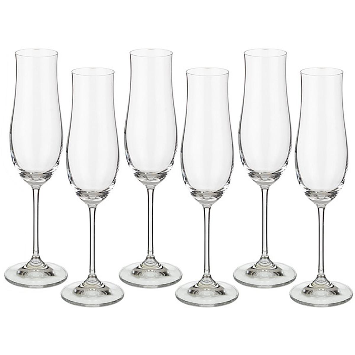 """Набор бокалов для шампанского """"Attimo"""" изготовлен из чешского бесцветного стекла, которое по своим качества не уступает хрусталю, без декора, чаша бокала имеет легкий изгиб. Набор бокалов """"Attimo"""" послужит прекрасным подарком для родных и близких. Количество в упаковке 6 шт. Объем бокала 180 мл."""