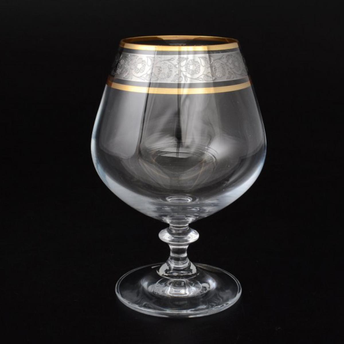 """Бокалы для бренди Bohemia Crystal коллекции """"Анжела"""" порадуют не только вас, но и ваших гостей. Они обладают привлекательным внешним видом, а материалом их изготовления является высококачественное хрустальное стекло. Кроме того, красоту бокала подчеркивают грани на прозрачных стенках, а также элегантная форма ножки. Бокал украшен красивой золотистой окантовкой.Объем составляет 400 мл. Количество в упаковке 6 шт."""