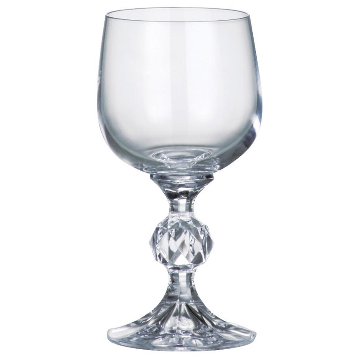 """Набор бокалов для вина Bohemia Crystal коллекции """"Клаудия"""" изготовлен из высококачественного богемского хрустального стекла, славящегося своим высоким качеством. Эксклюзивная коллекция """"Клаудия"""" - это роскошная классика. Ножка выполнена с декоративным элементом в виде граненого шара. Набор станет отличным выбором для богатой сервировки стола. Объем бокала 230 мл. Количество в упаковке 6 шт."""