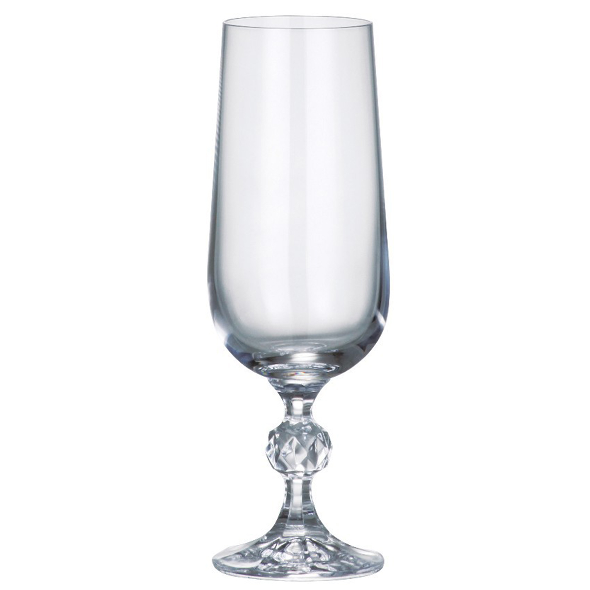 """Набор бокалов для шампанского Bohemia Crystal коллекции """"Клаудия"""" изготовлен из хрустального высококачественного богемского стекла, славящегося своим высоким качеством. Эксклюзивная коллекция """"Клаудия"""" - это роскошная классика. Ножка выполнена с декоративным элементом в виде граненого шара. Набор станет отличным выбором для богатой сервировки стола. Объем бокала 180 мл. Количество в упаковке 6 шт."""