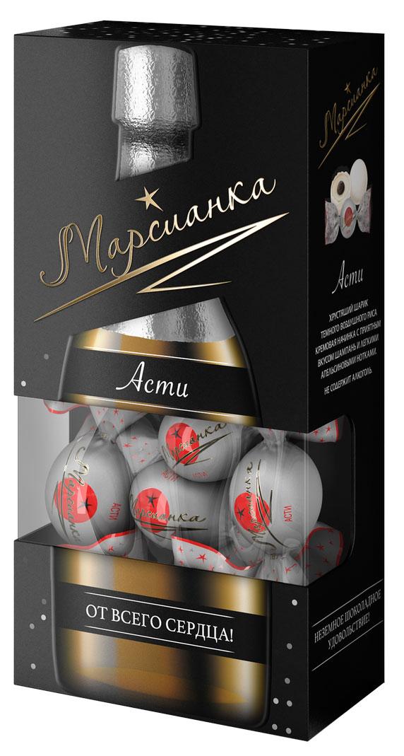Марсианка асти конфета, 200 г0860100001100Хрустящий шарик темного воздушного риса, кремовая начинка с приятным вкусом шампань и легкими апельсиновыми нотками. Не содержит алкоголь.