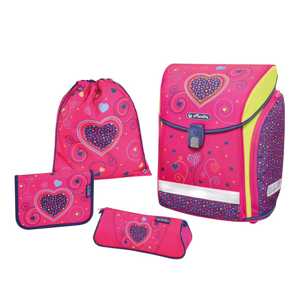 Herlitz Ранец школьный Midi Plus Pink Hearts с наполнением 4 предмета herlitz ранец школьный loop empty blue hearts