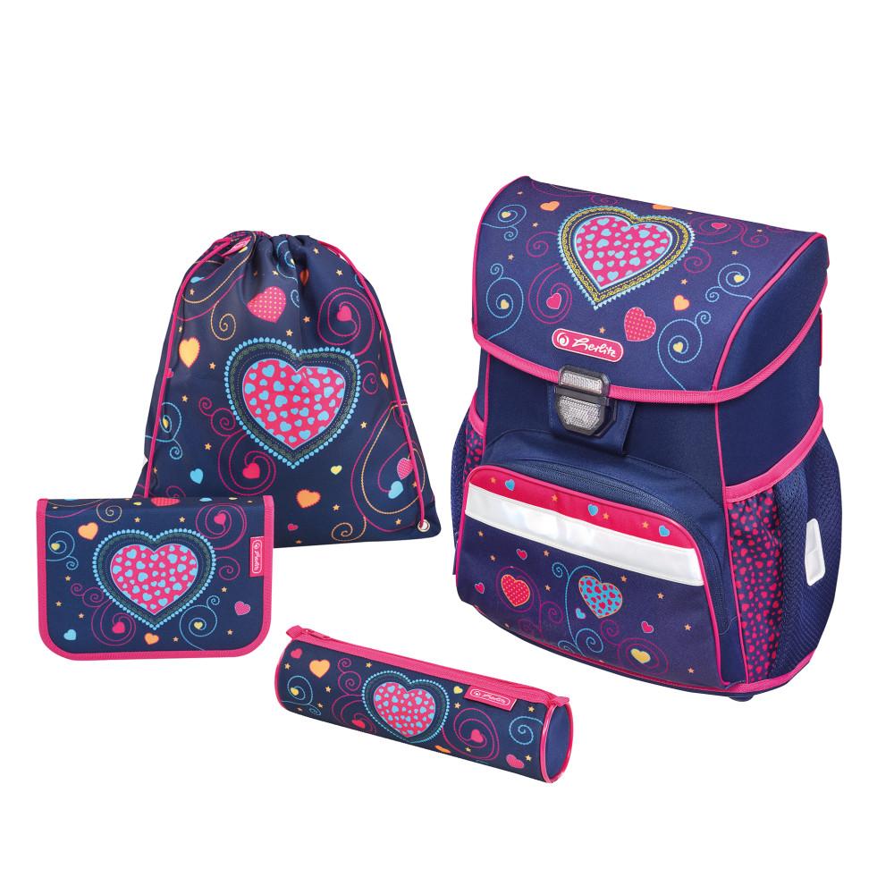 Herlitz Ранец школьный Loop Plus Blue Hearts с наполнением 3 предмета -  Ранцы и рюкзаки