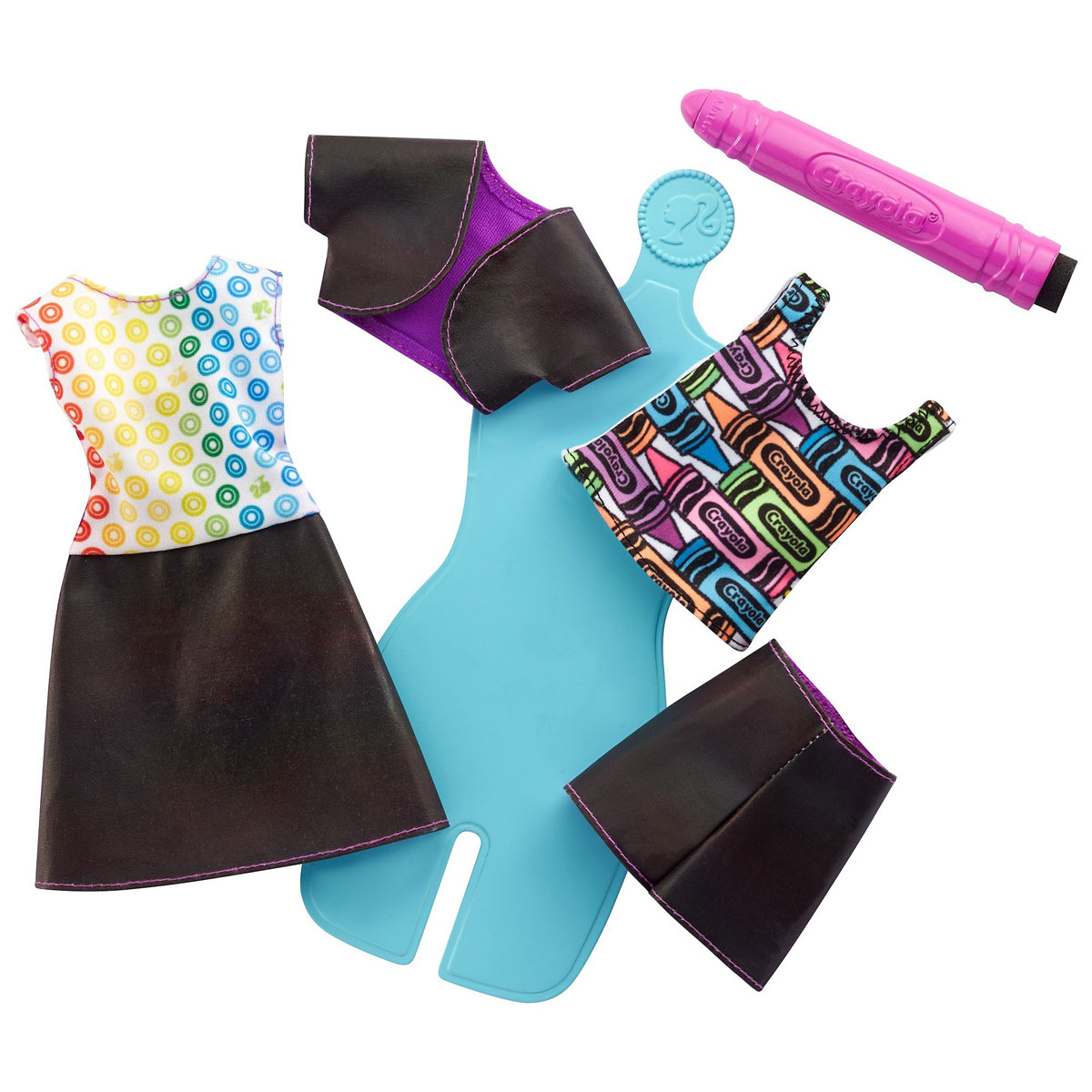 Barbie Игровой набор с куклой Crayola Раскрась наряды цвет голубой сиреневый barbie basics с рук
