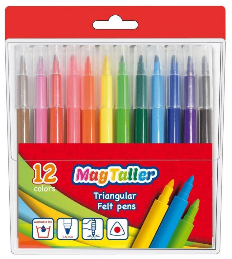 MagTaller Набор фломастеров Trio 12 цветов547104Набор легкосмываемых цветных фломастеров MagTaller Trio. Треугольный корпус изготовлен из пластика. Вентилируемые колпачки предохраняют от преждевременного высыхания. Фломастеры имеют ударопрочный наконечник и увеличенный объем чернил. В наборе 12 ярких разноцветных фломастеров.Толщина линии 1,5 мм.
