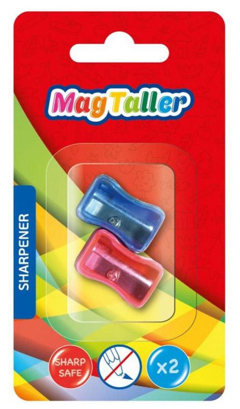 MagTaller Точилка с контейнером Mini синий 2 шт604207пластиковый корпус, безопасное лезвие из нержавеющей стали, контейнер для стружки, ассортимент цветов