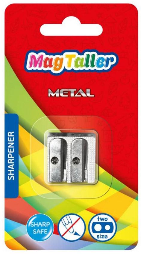 Точилка MagTaller Metal Two, цвет: стальной604271Точилка MagTaller Metal Two изготовлена из алюминиевого сплава. Два отверстия и безопасное лезвие из нержавеющей стали обеспечивают качественную и точную заточку классических и утолщенных деревянных карандашей.