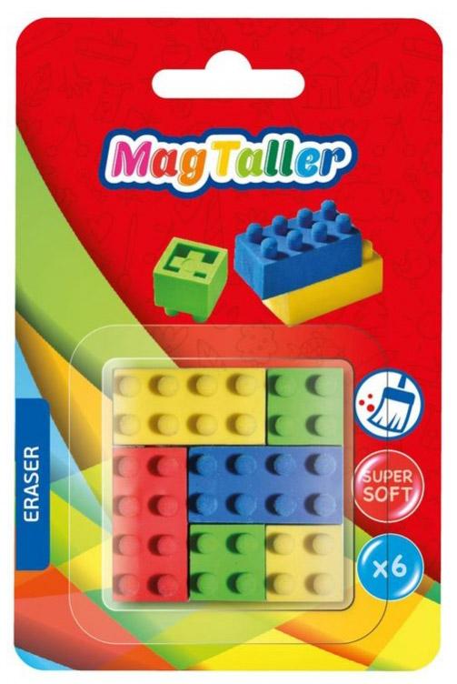 MagTaller Ластик Form 6 шт605007супермягкий, не пачкает бумагу, ассортимент