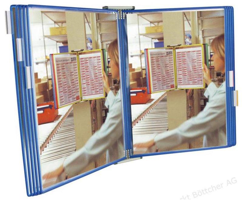 Tarifold Настенная демосистема Techniс А3 с 10 демопанелями цвет синийT413101Многофункциональная, эта система представит вашу информацию для ознакомления в том месте, где она должна быть прочитана! Неограниченные возможности наращивания конструкции за счет простого расположения элементов бок о бок; система может быть адаптирована непосредственно к вашему объему документации. Расположение на уровне глаз! Чтение под наклоном.Технические характеристикиНастенная модель из светло-серого металла, снабженная 2 боковыми опорами для поддержания демонстрационных панелей. 10, 20 или 30 поворотных демонстрационных панелей формата А4 различных цветов (синий, красный, желтый, зеленый и черный). Зажимы для маркировки (вкладыши белые/цветные) для 10, 20 или 30 демонстрационных панелей. В качестве материала для фиксации - шурупы, дюбели и распорные болты. Упаковка индивидуальная – коробка картонная обычная