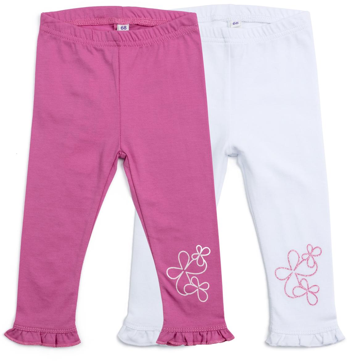 Леггинсы для девочки PlayToday, цвет: белый, розовый, 2 шт. 188860. Размер 68188860